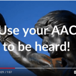 """Picture of Rocky statue saying, """"Use your AAC to be heard!"""""""