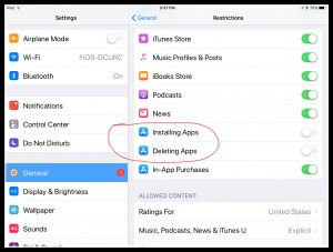 Image of restrictions for adding and deleting apps on iPad.