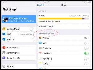 Image of iCloud settings on iPad