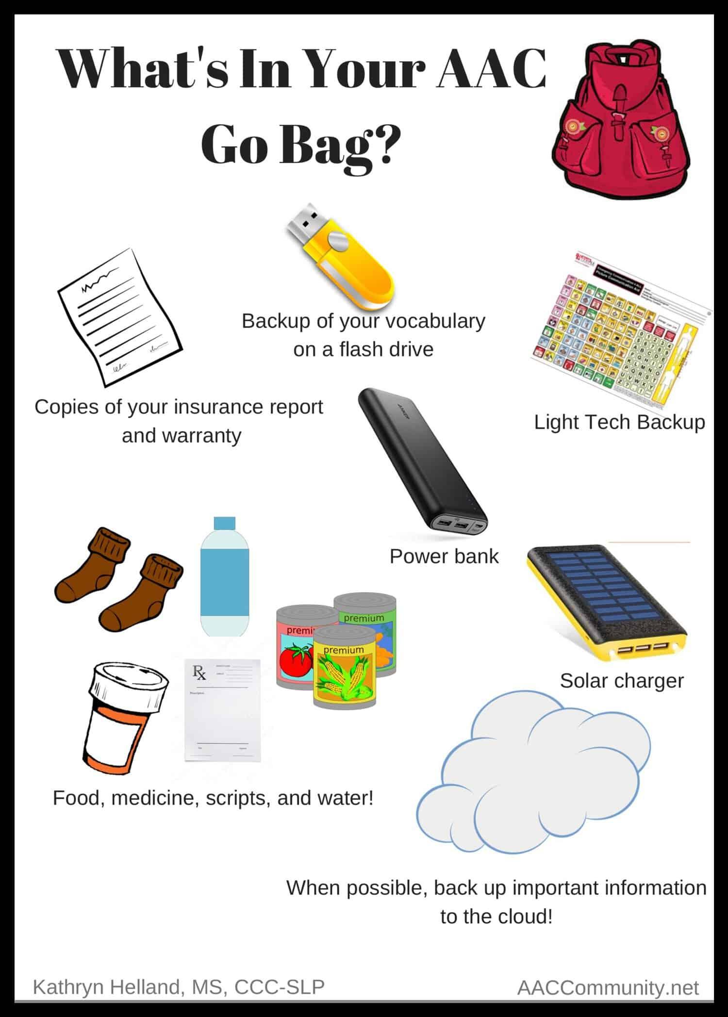 Go Bag items for AAC List