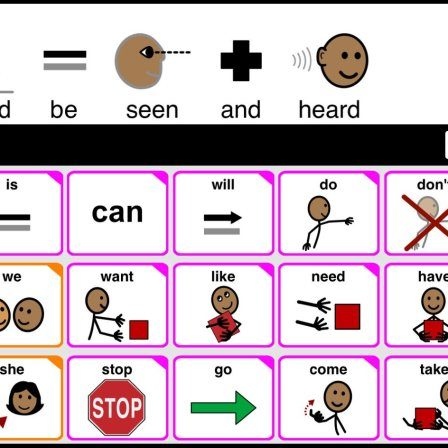 AAC speech bar with message: I should be seen and heard. African American symbol Stix.