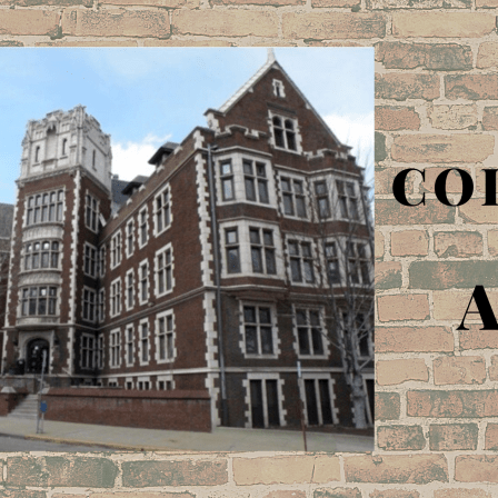 Campus building on a brick background with text: College and AAC.